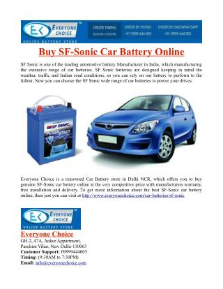 Buy SF Sonic Car Battery Online