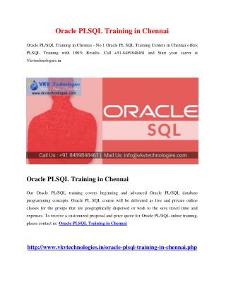 Oracle PLSQL Training in Chennai