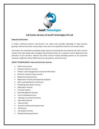 Call Center Services of Josoft Technologies Pvt Ltd