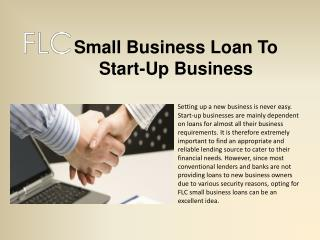 FLC- Small Business Loan To Start-Up Business
