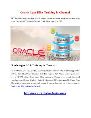 Oracle Apps DBA Training in Chennai
