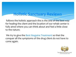 Holistic Sanctuary Reviews, Holistic drug rehab