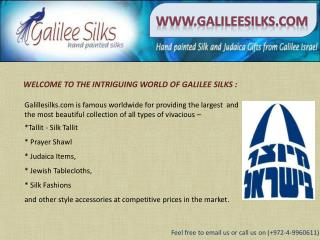 Silk tallit and jewlery at galileesilks.com