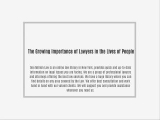 The Growing Importance of Lawyers in the Lives of People