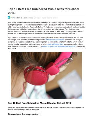 Best free Unblocked music sites for school