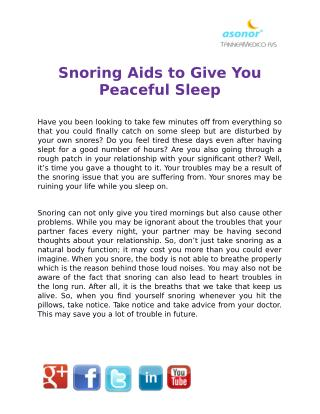Snoring Aids to Give You Peaceful Sleep