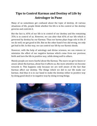 Tips to Control Karmas and Destiny of Life by Astrologer in Pune