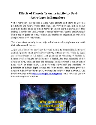 Effects of Planets Transits in Life by Best Astrologer in Bangalore