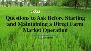 Questions to Ask Before Starting and Maintaining a Direct Farm Market Operation
