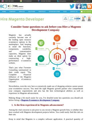 Consider Some questions to ask before you Hire a Magento Development Company
