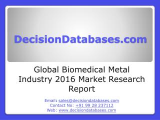 International Biomedical Metal Industry: Market research, Company Assessment and Industry Analysis 2016