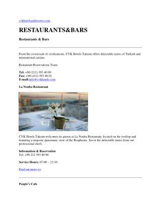 Istanbul restaurants - istanbul bars
