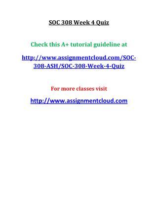 UOP SOC 308 Week 4 Quiz