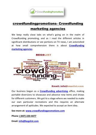 crowdfundingpromotions- Crowdfunding marketing agencies