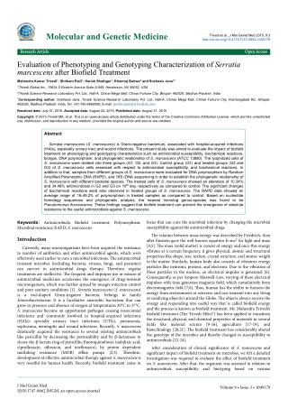 Evaluation of Phenotyping and Genotyping Characterization of Serratia marcescens after Biofield Treatment