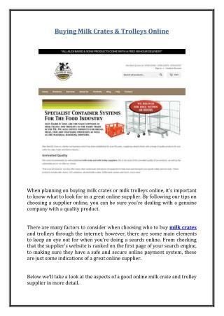 Buying Milk Crates & Trolleys Online