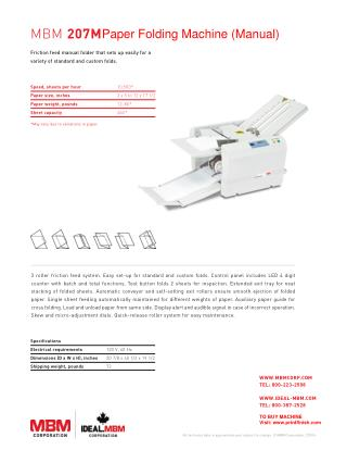 MBM 207M Paper Folding Machine by Printfinish.com