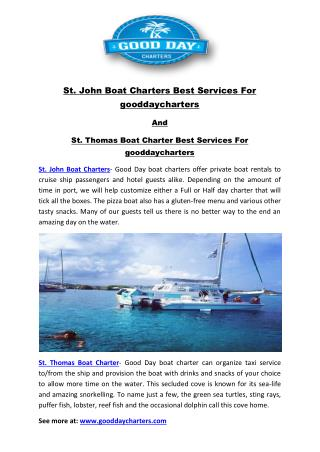 St. John Boat Charters Best Services For gooddaycharters