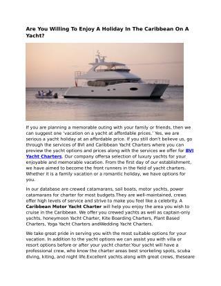 Yacht Charters St Thomas