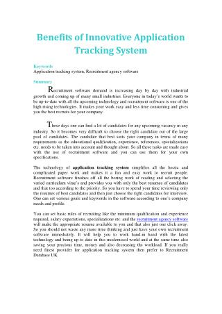 Benefits of Innovative Application Tracking System