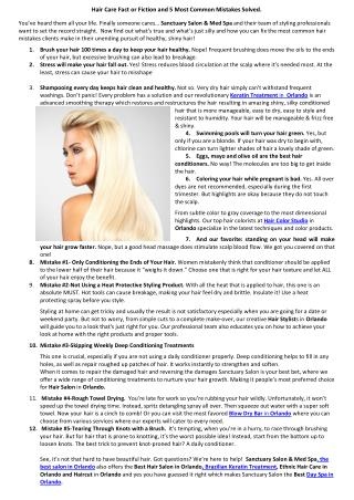 Hair Care Fact or Fiction and 5 Most Common Mistakes Solved.