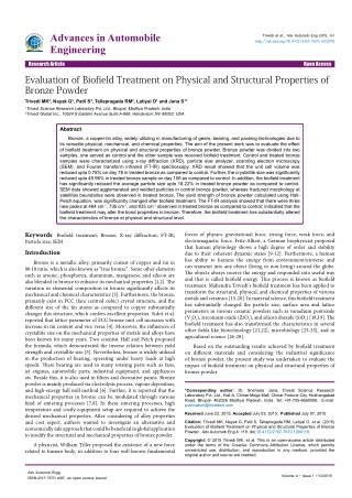Biofield Treatment Evaluation on Bronze Powder Properties