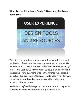 What Is User Experience Design? Overview, Tools and Resources