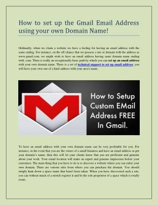 How to set up the Gmail Email Address using your own Domain Name