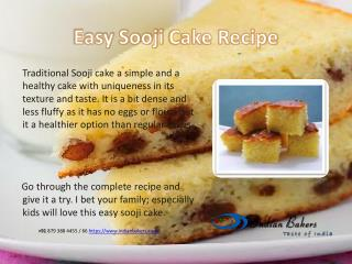 Easy Sooji Cake/Rava Cake Recipe from indianbakers.com | Online Cake Shop Mumbai