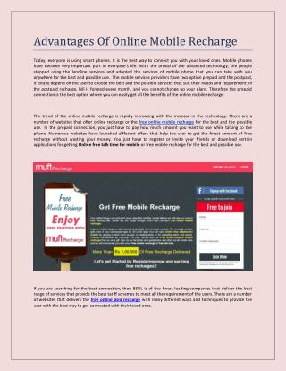 Advantages Of Online Mobile Recharge