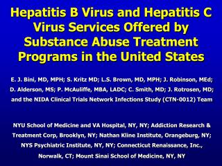 Hepatitis B Virus and Hepatitis C Virus Services Offered by Substance Abuse Treatment Programs in the United States