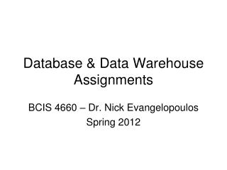 Database  Data Warehouse Assignments