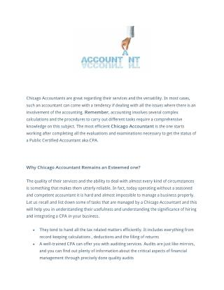 Chicago accountant offers high quality personal accounting services