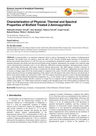 Biofield Treatment Impact on Properties of 2-Aminopyridine