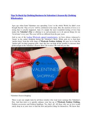 Tips To Buck Up Clothing Business In Valentine's Season By Clothing Wholesalers