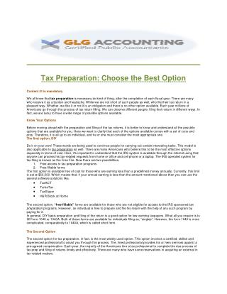 GLG Accounting| Handle The Most Complicated Income Tax Preparation