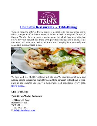 Hounslow Restaurants TablaDining