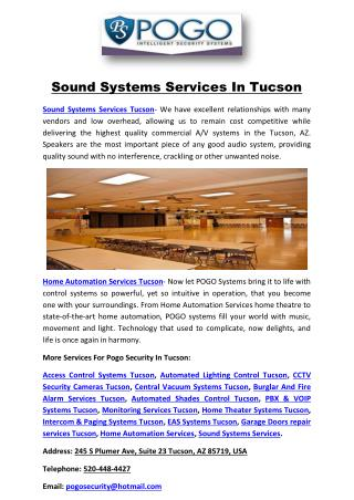 Sound Systems Services In Tucson