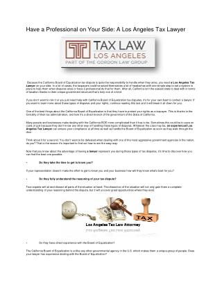 Have a Professional on Your Side: A Los Angeles Tax Lawyer