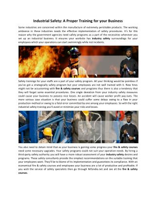 Industrial Safety A Proper Training for your Business