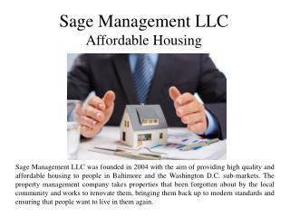 Sage Management LLC Affordable Housing