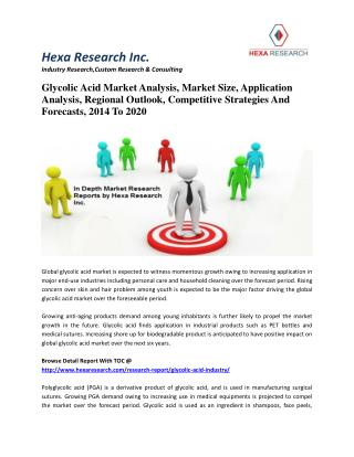 Glycolic Acid Market Analysis, Size, Growth, Trends, Competitive Strategies & Forecasts, 2014-2020