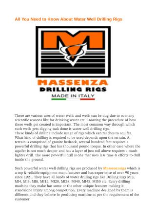 All You Need to Know About Water Well Drilling Rigs