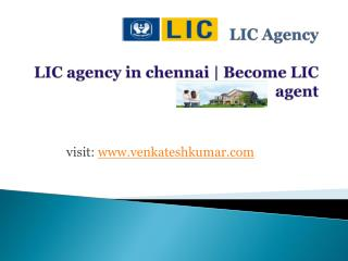 LIC agency in chennai | Become LIC agent