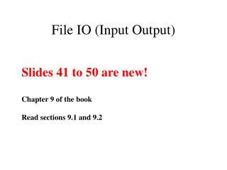File IO Input Output