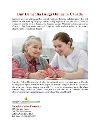 Buy Dementia Drugs Online in Canada