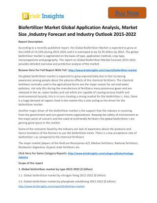 Global Biofertilizer Market to 2022 - Industry Applications, Market Size, Segmentation, Compandy Share: Brisk Insights