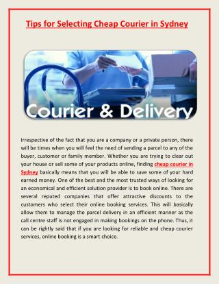 Information on Cheap Courier in Sydney