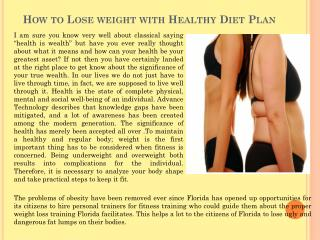How to Lose weight with Healthy Diet Plan