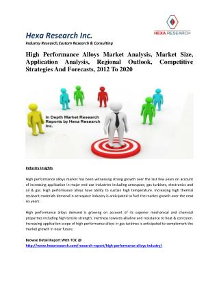 High Performance Alloys Market Analysis, Size, Application Analysis And Forecasts, 2012 To 2020